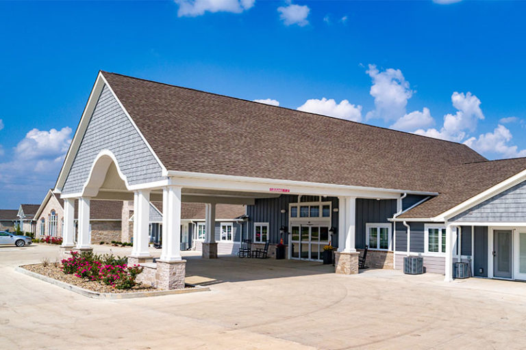 The Villas of Holly Brook & Reflections Memory Care entrance on McClusky Road, State Highway 109 in Jerseyville, IL.